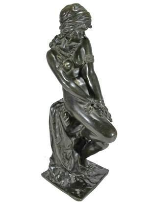 Antique Egyptian nude woman bronze sculpture