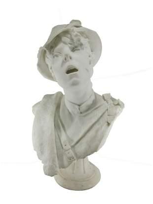 Antique carrara marble bust, signed V. NOVI