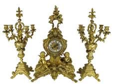 19th C French H. LUPPENS, Paris gilt bronze clock set