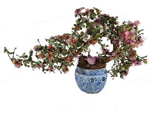 Vintage Chinese porcelain & different stones plant
