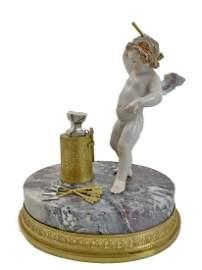 Antique gilt bronze, porcelain & marble blacksmith