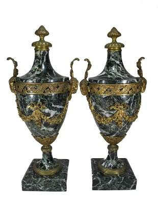 Antique French pair of bronze & marble urns