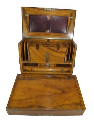Antique English wood traveliing writing desk box