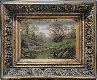 19th C European oil on canvas landscape, signed