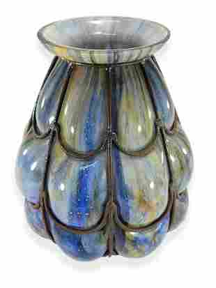 Marked TBS France wrought iron & glass vase