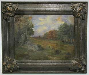 Antique European oil on board painting, signed
