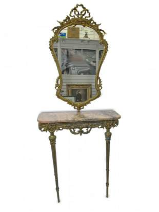 Antique French bronze & marble console with mirror