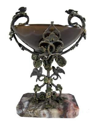 Antique agate, marble & silver miniature urn in a box