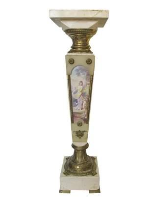 Antique Sevres marble, onyx, bronze & painted porcelain