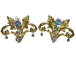 Antique pair of wood & porcelain wall sconces