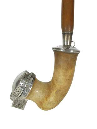 19th C Austrian large silver & meerschaum pipe