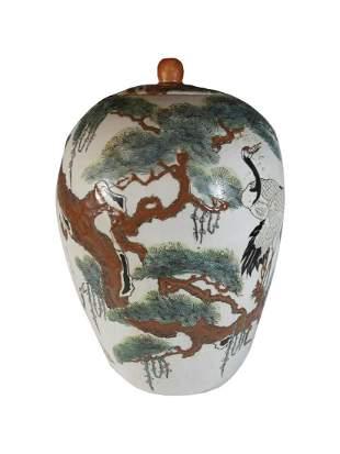 Late 19th C Oriental porcelain jar