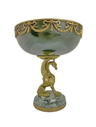 Antique French gilt bronze & marble centerpiece