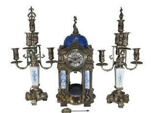 French Marti Christofle quality silver bronze clock set