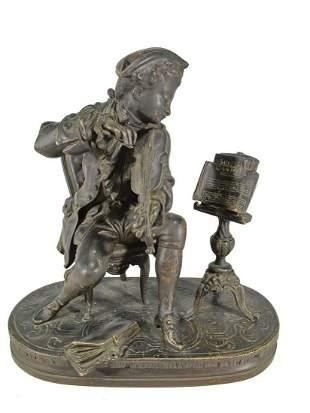 Antique French young violinist bronze statue, circa