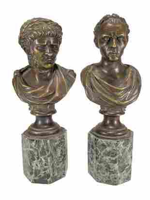 Caesar & Nero bronze & marble busts