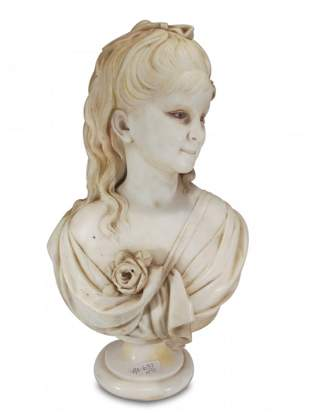 Signed FORTUNI antique Italian marble bust