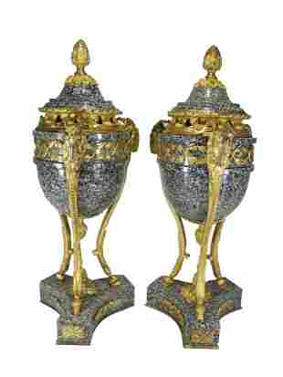 Antique French pair of gilt bronze & marble urns