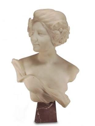 Antique European marble bust, signed: Gast