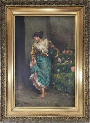 Antique European mistery artist oil on canvas, signed