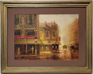Vintage oil on board Paris view painting, signed