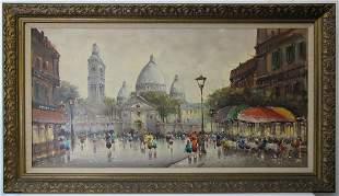 Antique European interior oil on canvas painting