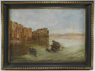 Antique Italian oil on canvas seascape painting, signed