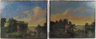 19th C European pair of oil on canvas paintings,