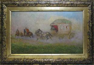 Antique signed F. PALACIOS oil on canvas painting