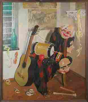 Large signed oil on masonite instruments painting