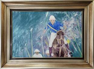 Signed F C Hirsh Polo player oil on canvas painting