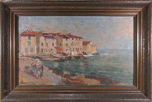 Signed SOMMIER antique oil on wood painting