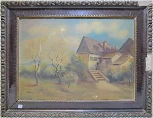 Vintage European oil on board painting, signed