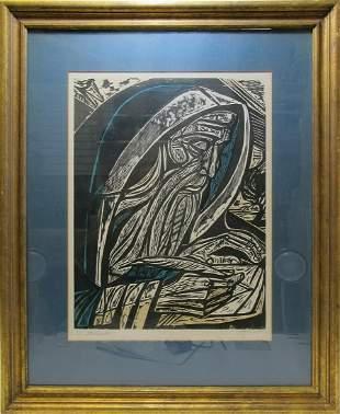 Irving Amen woodcut print