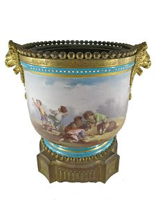 Antique French Sevres bronze & porcelain bowl