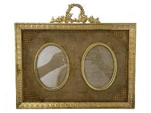 Antique French bronze & velvet picture frame