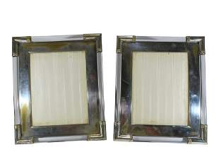 Vintage pair of silverplate picture frames