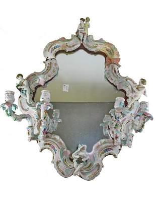 Antique German porcelain wall mirror