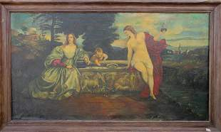 Great antique oil on canvas group painting