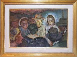 Old oil on board group painting, signed and dated 1953
