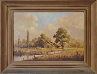 Eudaldo J. ENRICO oil on board landscape painting, 1967