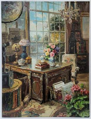 Great oil on canvas interior painting