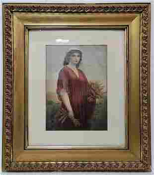 Vintage European woman framed print