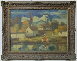 Vintage oil on canvas cityscape, signed
