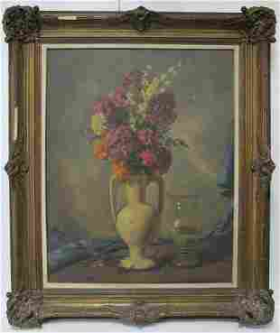 Signed J. H. Viana oil on canvas flowers painting