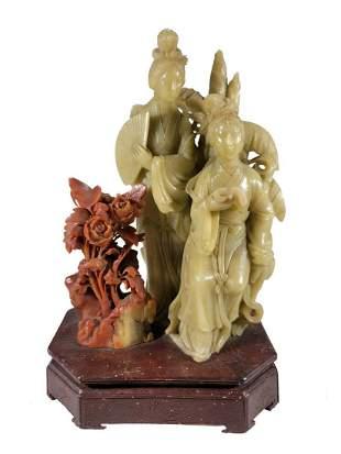 Vintage Chinese hard stones carved figure