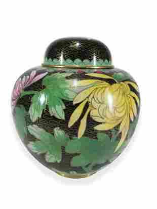 Chinese cloisonne lidded vase