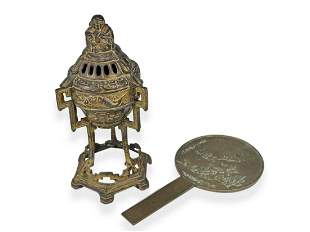 Antique Chinese bronze incense burner and plaque