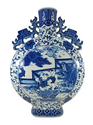 Chinese blue & white porcelain vase, signed