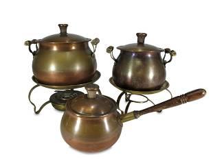 Vintage set of 3 copper & bronze pots